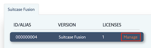 The Suitcase Fusion subscription with the Manage link highlighted