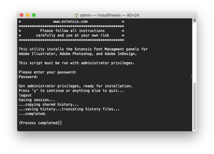 Output of the panel installer script for Mac OS