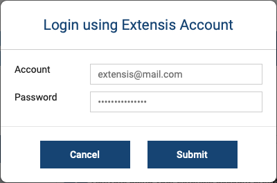 The Login using Extensis Account dialog for Universal Type Server
