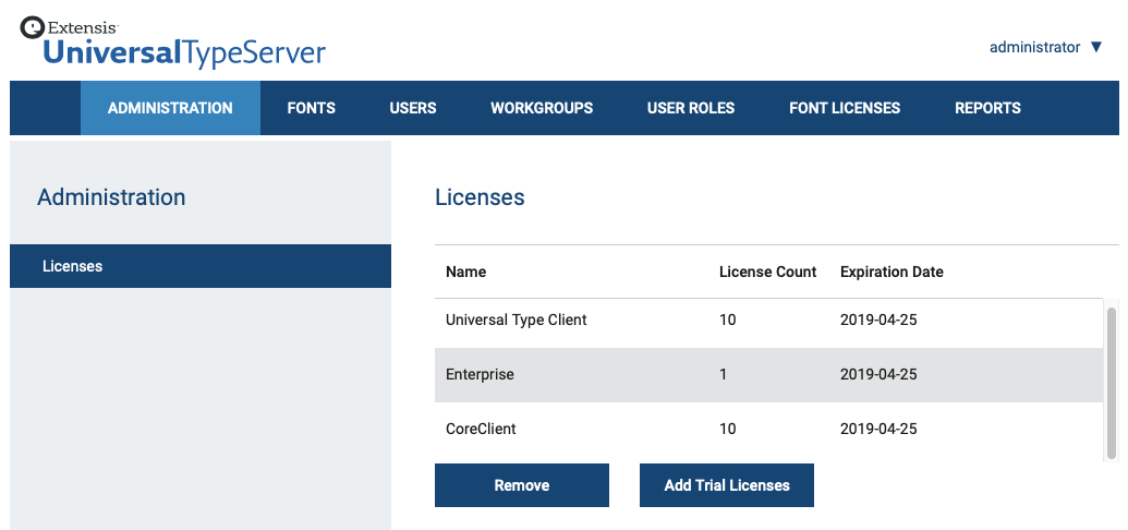 The Licenses panel of Universal Type Server showing the number of days remaining in the demo period
