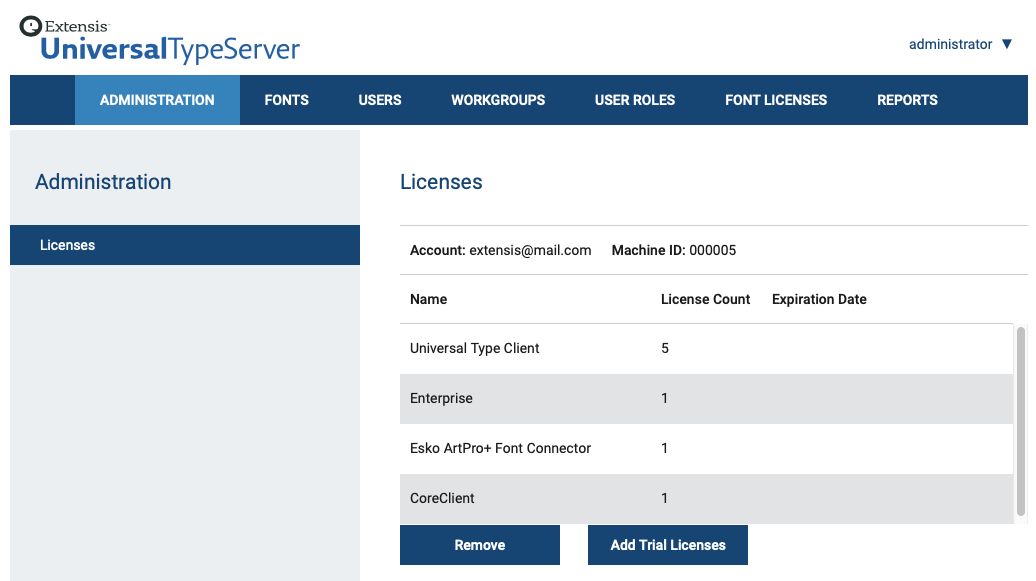 The License Options pane of Universal Type Server showing which features have been activated
