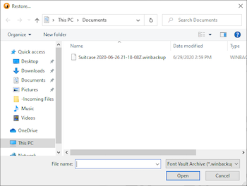 The file selection dialog in Suitcase Fusion for Windows showing the archive file in the Documents folder