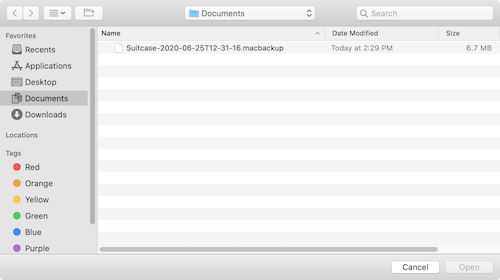 The file selection dialog in Suitcase Fusion for Mac showing the archive file in the Documents folder