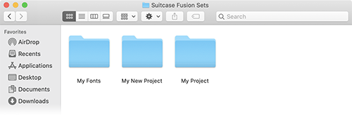 A folder of collected sets in macOS