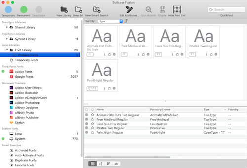 Generic font previews in Suitcase Fusion for Mac