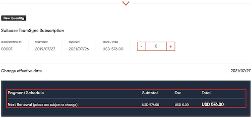 The New Quantity page with the additonal license count price highlighted
