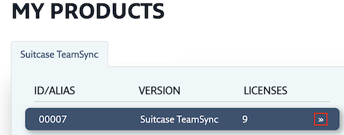 The Suitcase TeamSync subscription with the Manage link highlighted