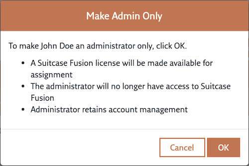 The Make Admin Only confirmation dialog