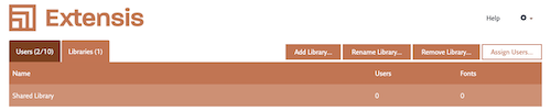 The Libraries tab, with the Assign Users button highlighted