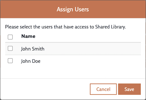 The Assign Users dialog