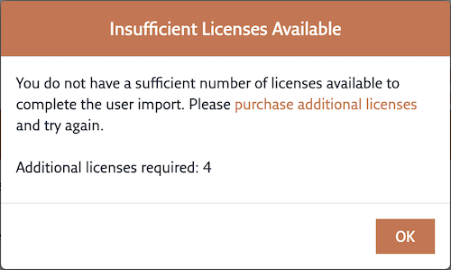 The Insufficient Licenses Available dialog