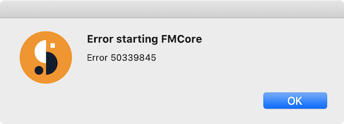 'Error starting FMCore: FMCore error 50339845' in Suitcase Fusion for Mac