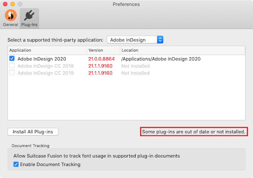 The plug-in manager in Suitcase Fusion for Mac, showing the plug-ins are out-of-date